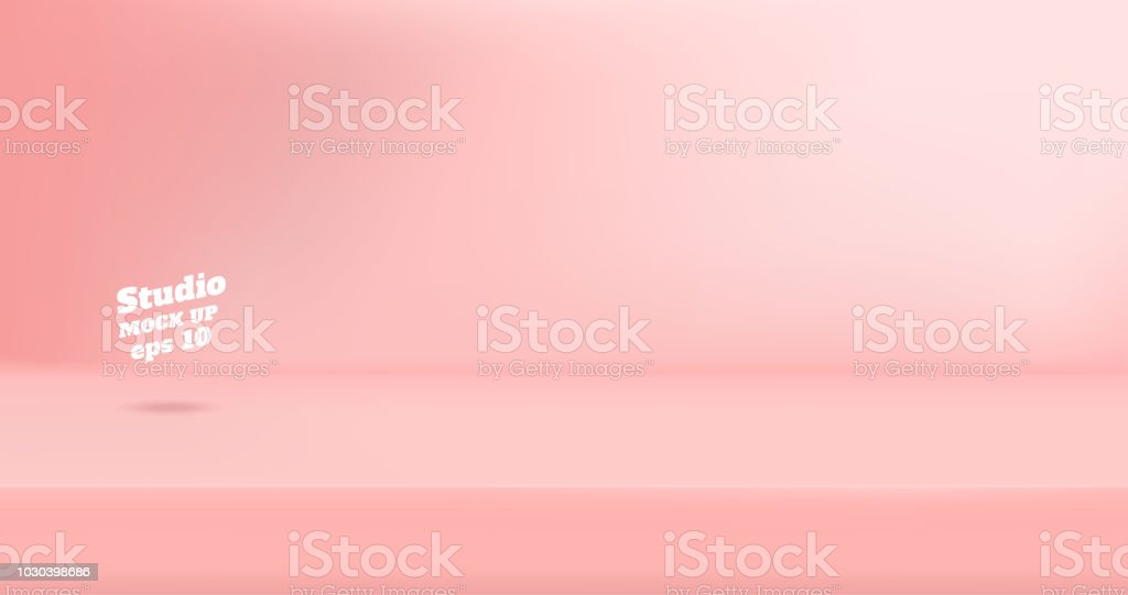 Vector Empty pastel pink color studio table room background ,product display with copy space for display of content design.Banner for advertise product on website vector art illustration