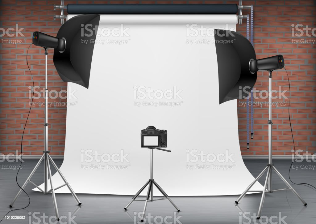 Vector realistic illustration of empty room with blank white screen,...