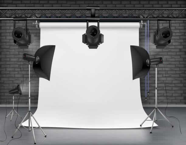 vector empty photo studio with lighting equipment - fotografika stock illustrations
