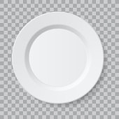 Vector empty realistic ceramic plate isolated on transparent background