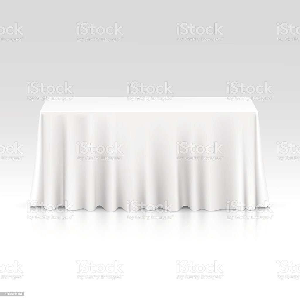 Beau Vector Empty Rectangular Table With Tablecloth Isolated On White Background  Vector Art Illustration