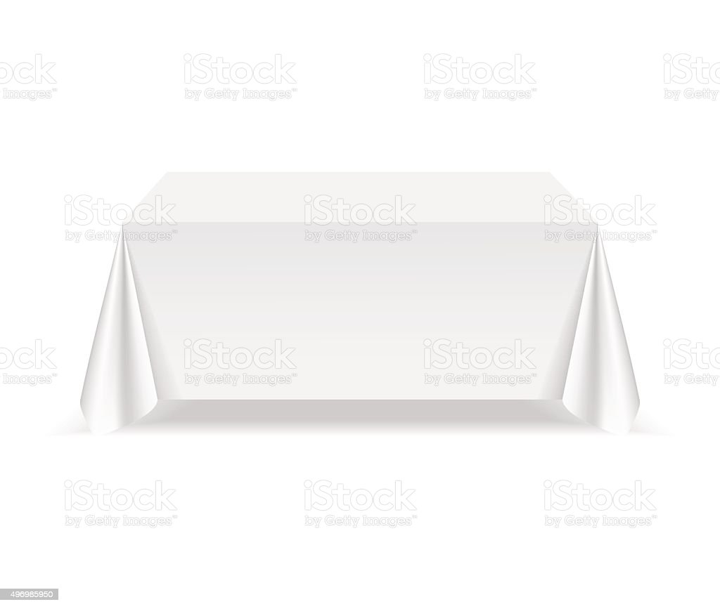 Vector Empty Rectangular Table with Tablecloth Isolated on White Background vector art illustration