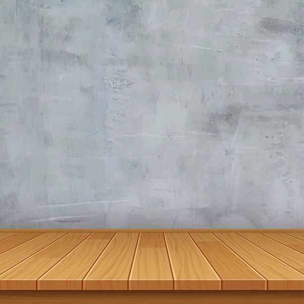 Vektor leeren Raum mit Beton Wand und Holzboden – Vektorgrafik
