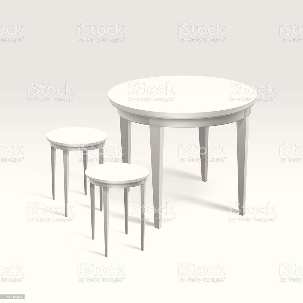 vecteur vide table ronde avec chaises isol sur fond blanc vecteur vide table ronde avec