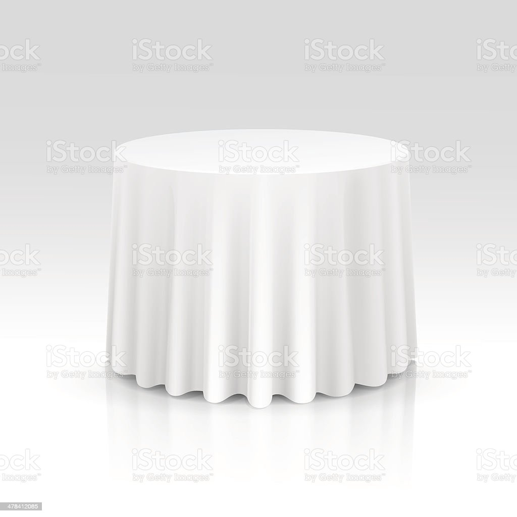Vector Empty Round Table with Tablecloth Isolated on White Background vector art illustration