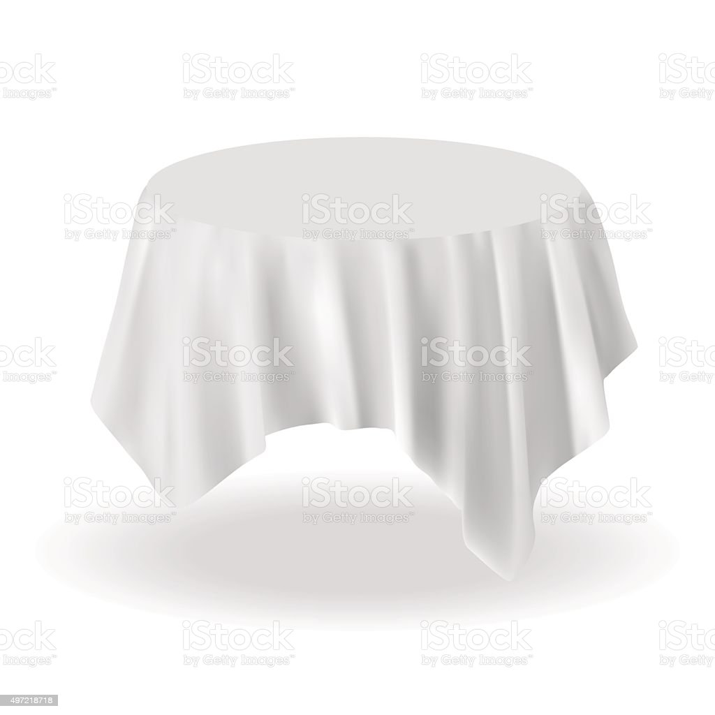 Round Table With Tablecloth.Vector Empty Round Table With Tablecloth Isolated On White