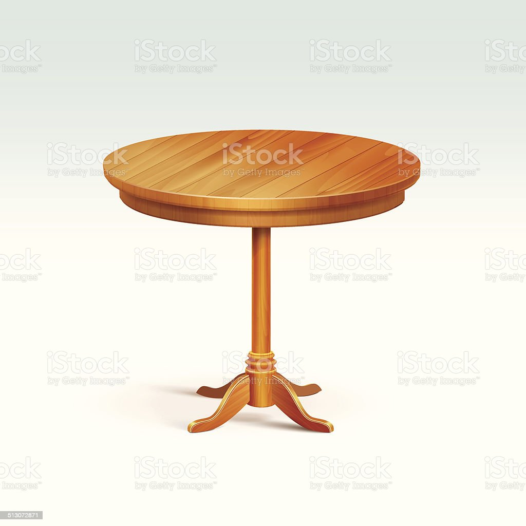 Vector Empty Round Wood Table Isolated on White Background vector art illustration