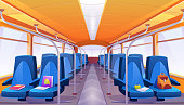 School bus interior with blue seats. Vector cartoon empty passenger cabin of public city transport inside with forgotten books and backpack on bus chair