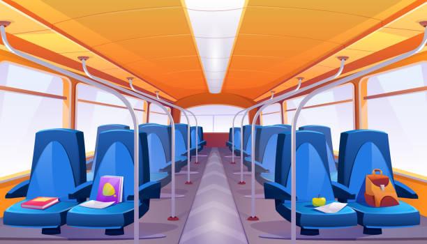 vector leerer schulbusinnenraum mit blauen sitzen - fahrzeugsitz stock-grafiken, -clipart, -cartoons und -symbole
