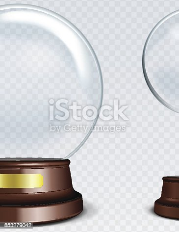 Vector Empty Snow Globe. White transparent glass sphere on a stand with Metal Sign with glares and highlights.