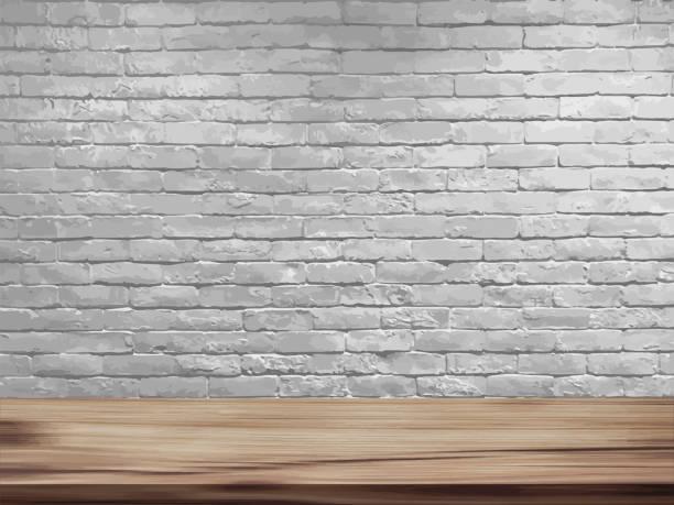 illustrazioni stock, clip art, cartoni animati e icone di tendenza di vector empty top of natural wooden table and retro white brick wall background. loft workspace concept - tavolo legno