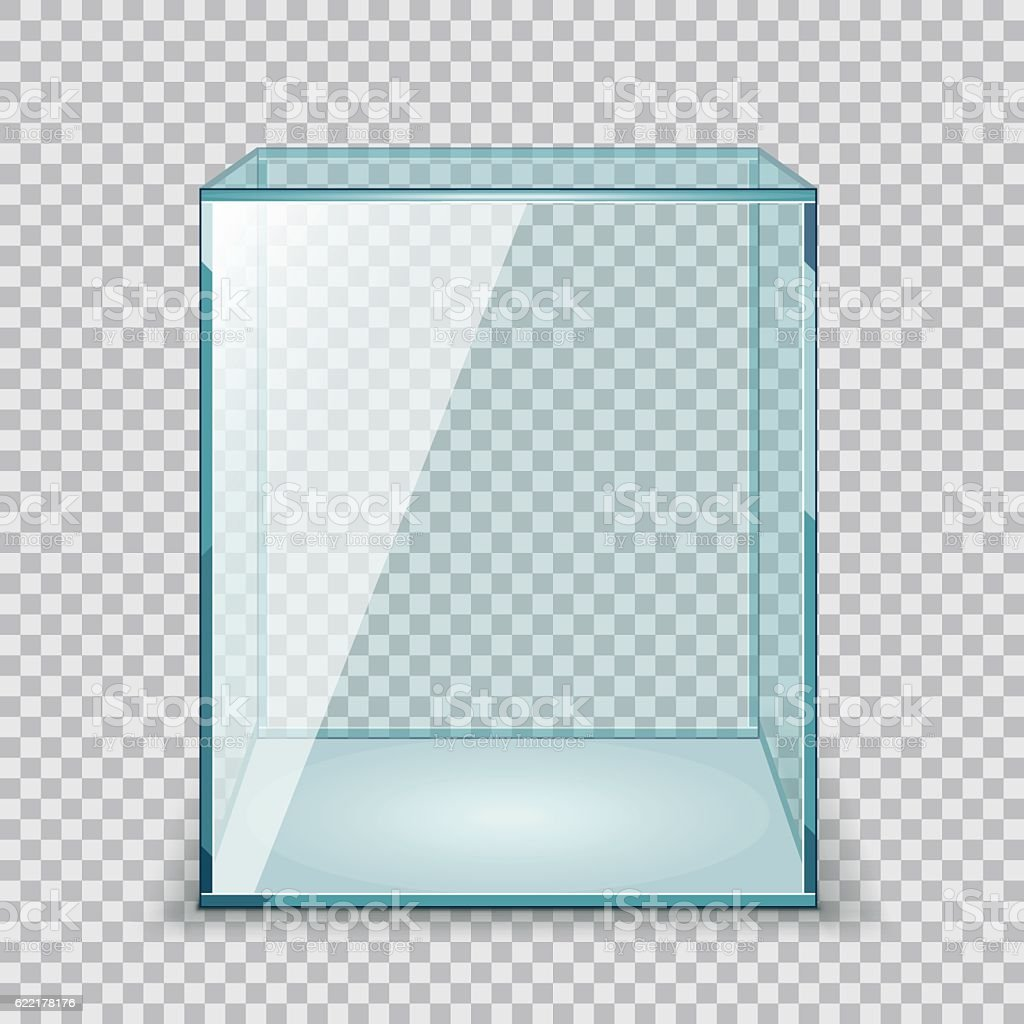 Vector Empty Transparent Glass Box - ilustración de arte vectorial
