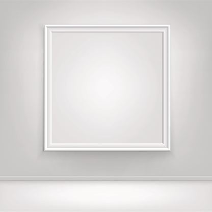 istock Vector Empty White Mock Up Poster Picture Frame on Wall 641985610