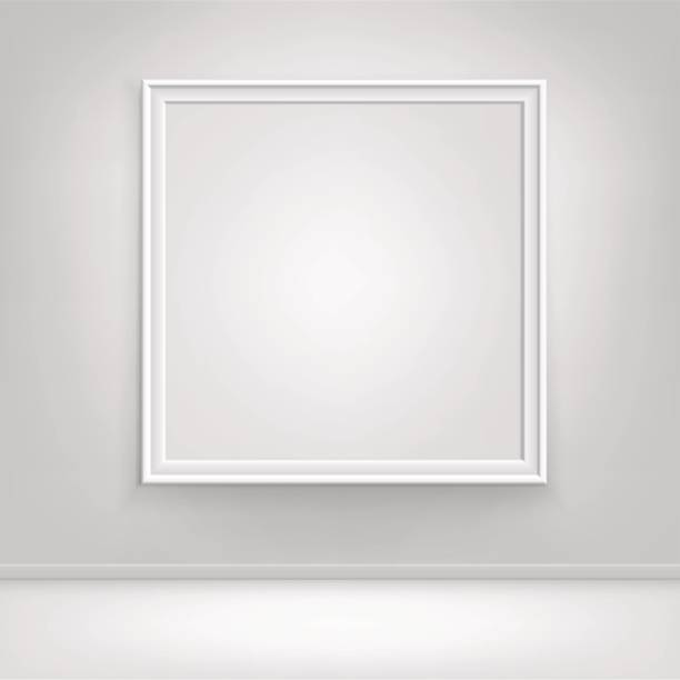 Vector Empty White Mock Up Poster Picture Frame on Wall stock photo