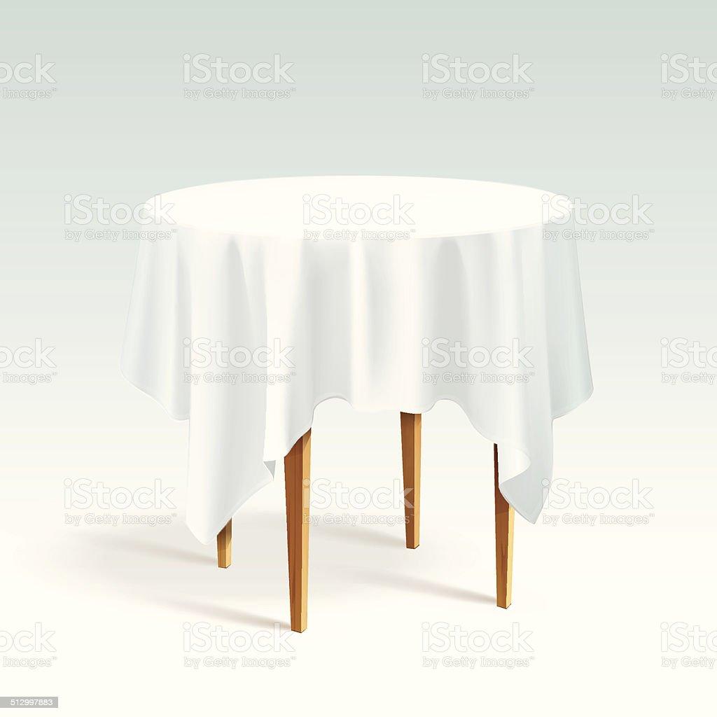 벡터 엠티 목재 라운드 테이블 식탁보 흰색 바탕에 그림자와 ...