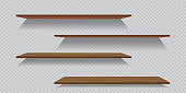 Vector empty wooden or plastic shelves isolated on checkered background