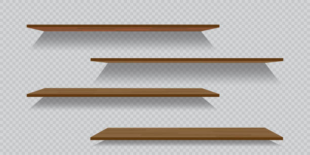 Vector empty wooden or plastic shelves isolated on checkered background vector art illustration