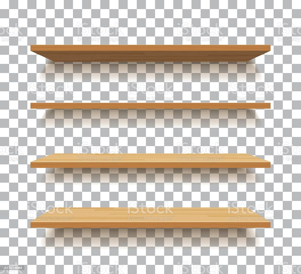 Vector Empty Wooden Shelf Isolated Background Stock Vector