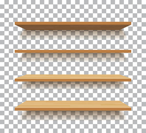 vector empty wooden shelf isolated background vector empty wooden shelf isolated background no people stock illustrations