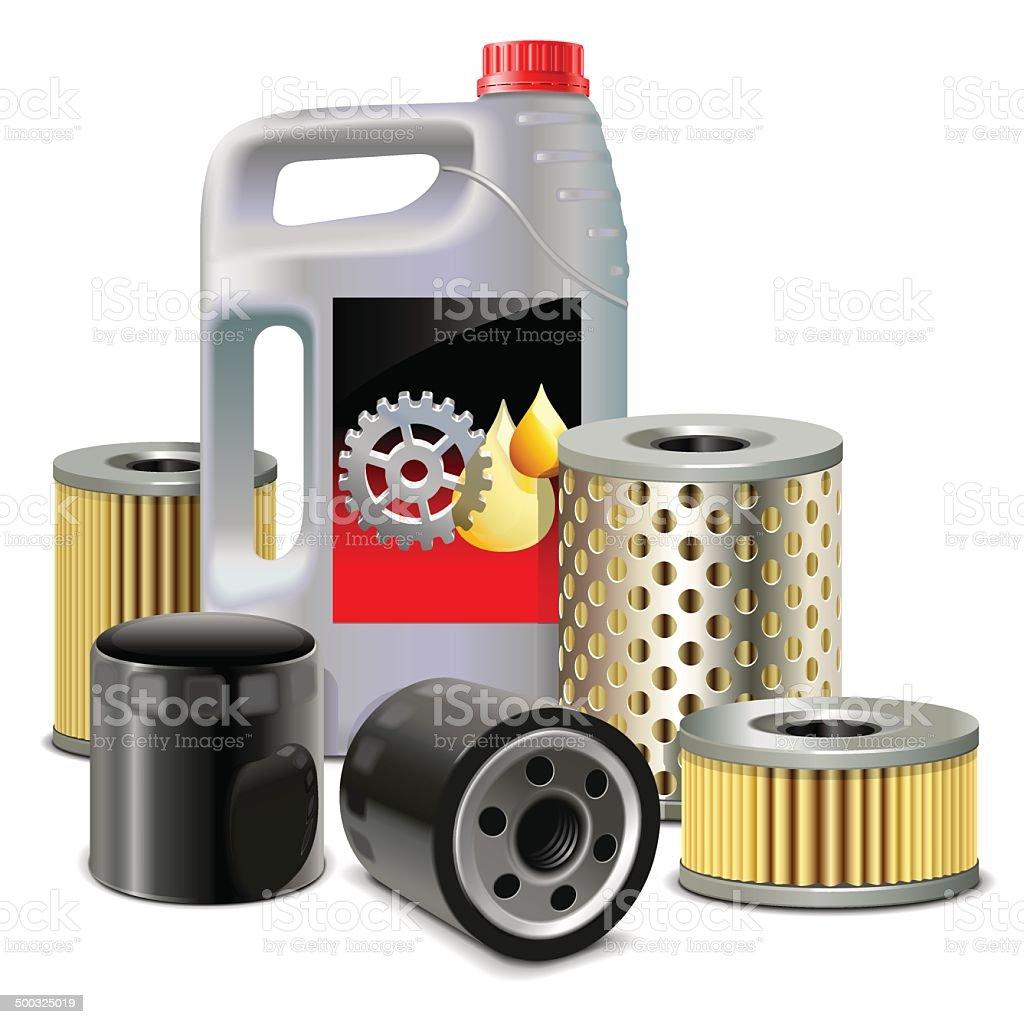 Vector aceite de motor y los filtros - ilustración de arte vectorial