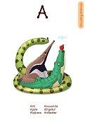vector English animals Alphabet letter A