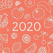 2020. Vector English wall calender cover template. Fruits, berries. Lemon, kiwi, banana, pear, cherry, strawberry, raspberry, watermelon, grapes, apple, pomegranate and mandarin. Hand drawn design. Doodle sketch. Sunday