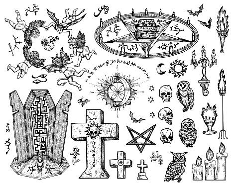 Ilustración vectorial grabada en estilo gótico y místico.