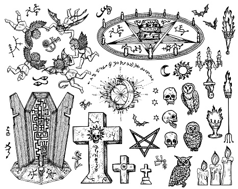 Vector engraved illustration in gothic and mystic style. No foreign language, all signs are fantasy.