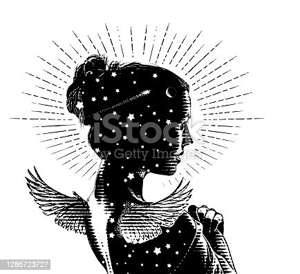 Vector engraving of a Beautiful angel and stars