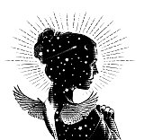 istock Vector engraving of a Beautiful angel and stars 1285723727