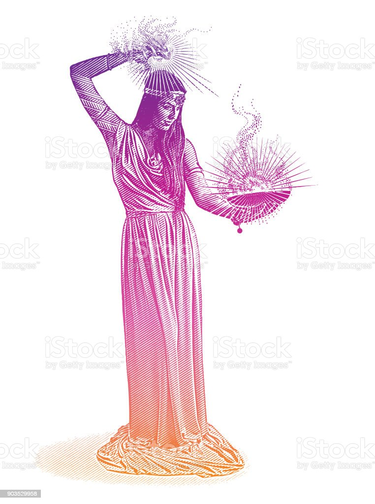 Vector engraving of a beautiful female wizard casting spell vector art illustration