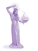 Vector engraving of a beautiful female wizard casting spell