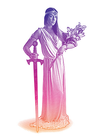 Vector Engraving of a Beautiful goddess holding sword and bouquet of lilies