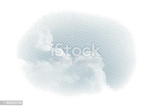 Vector engraving of a Cumulus cloud