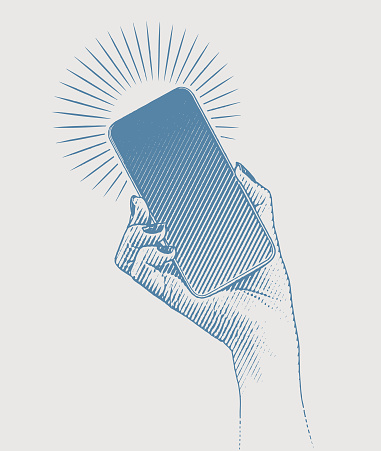 Vector engraving of a woman's hand holding smart phone