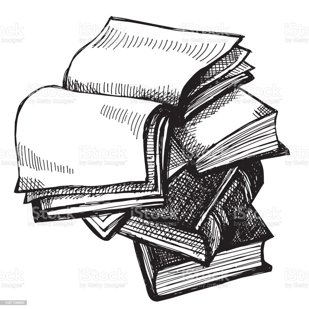 vector engraving style illustration of a pile of books vector art illustration