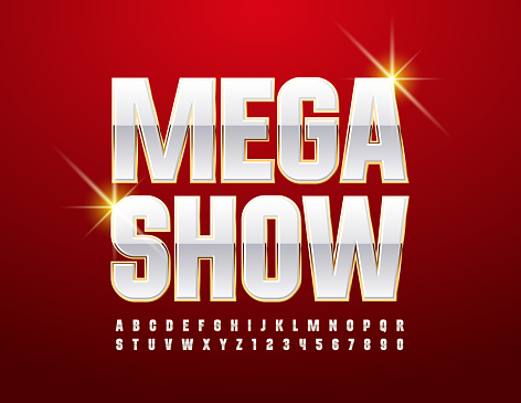Vector entertainment flyer Mega Show. White and Gold Alphabet Letters and Numbers set