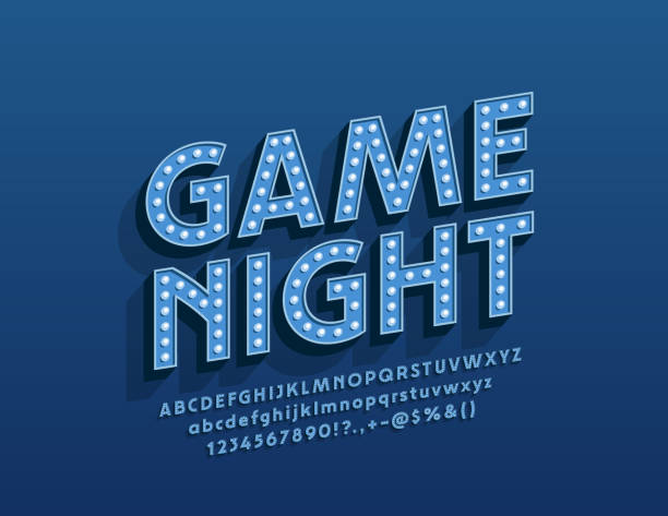 Vector entertainment poster Game Night with glowing Alphabet Letters Electric lamp Font leisure games stock illustrations
