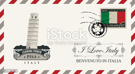 Vector envelope or postcard in retro style with leaning tower of Pisa, postmark and postage stamp with Italian flag. Calligraphic inscription I love Italy