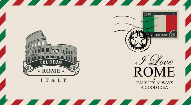 Vector envelope or postcard with Roman Coliseum Vector envelope or postcard in retro style with Roman Coliseum, postmark and postage stamp with Italian flag. The monument of architecture of Ancient Rome. Inscription I love Rome postmark stock illustrations
