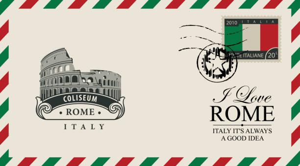 vektor-umschlag oder eine postkarte mit roman coliseum - italien stock-grafiken, -clipart, -cartoons und -symbole