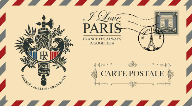 Vector envelope with french Coat of Arms Vector envelope or postcard in retro style with French coat of arms, postmark in form of Eiffel tower and postage stamp with Triumphal arch. French words-Freedom, Equality, Fraternity french culture stock illustrations