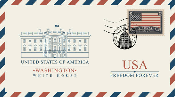 vector envelope with White House and american flag Vector postcard or envelope with famous Washington White House and inscriptions. Postcard with postmark in form of capitol building and postage stamp with flag of USA white house stock illustrations