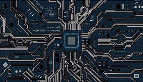 Vector eps10.Circuit board. Electronic computer hardware technology. Motherboard digital chip integrated  science background