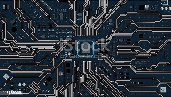 istock Vector eps10.Circuit board. Electronic computer hardware technology. Motherboard digital chip integrated  science background 1131389668