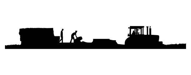 bildbanksillustrationer, clip art samt tecknat material och ikoner med vector eps8-silhuett av traktor dra en baler i ett fält av halm - traktor pulling