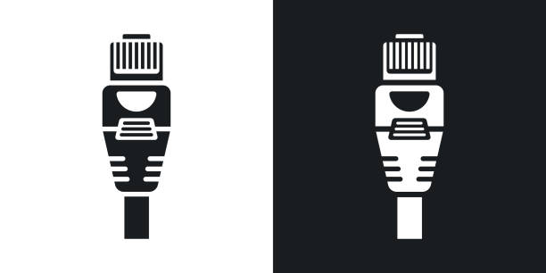 Vector Ethernet Connector with Cable icon. Two-tone version of Ethernet Connector with Cable simple icon on black and white background vector art illustration