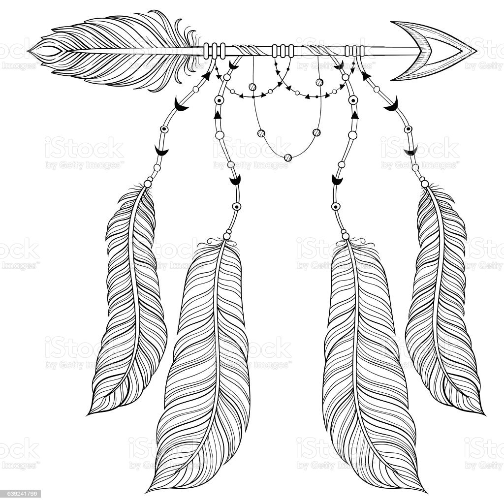 Vector Ethnic Arrow With Bird Feathers Boho Style Concept Stock ...