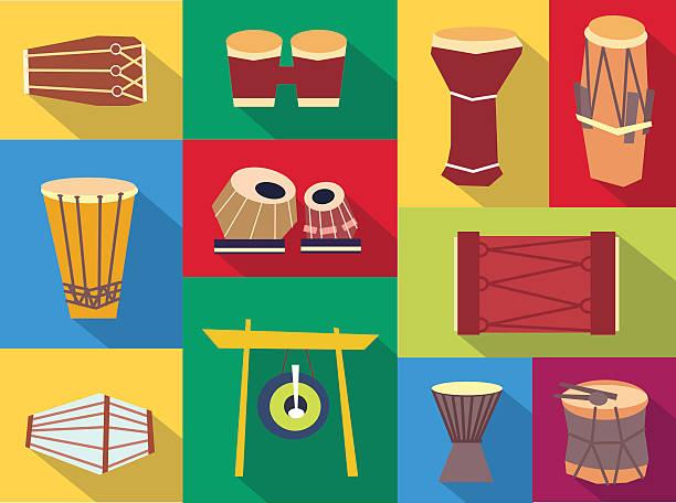 Vector ethnic drums Ethnic drums - exotic percussion. Vector flat set. Stock illustration tavla stock illustrations
