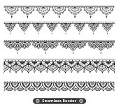 Border Indian elements for card or tattoo. Vector design illustration isolated on white background.